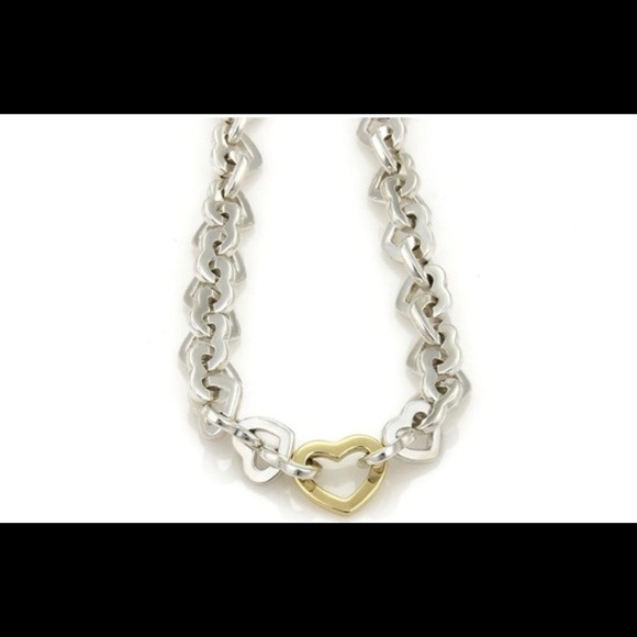 982a928e7 Tiffany & Co heart link necklace gold silver AUTH.  M_5ac2686f8af1c5f10525e72a